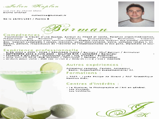exemple cv barman serveur